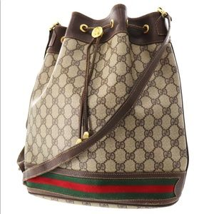 Authentic GUCCI brown coated canvas Shoulder bag